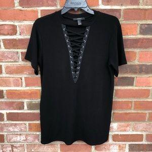 Black Criss Cross Lace up  V-Neck T Shirt